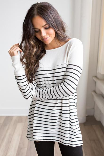Soft Brushed Striped Contrast Top - Ivory/Black