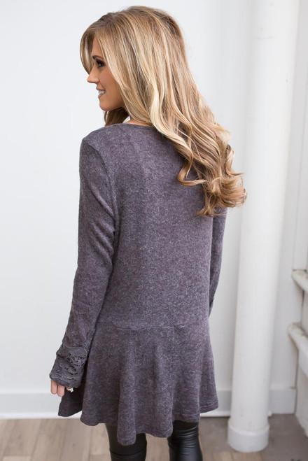 Crochet Detail Drop Waist Tunic - Charcoal