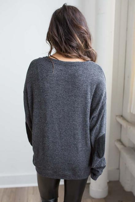 Lace Up Elbow Patch Sweatshirt - Ash