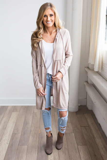 Hooded Zip Up Sweatshirt Tunic - Vintage Rose