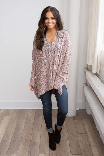 Two Tone Cable Knit Tunic Sweater - Pink/Black