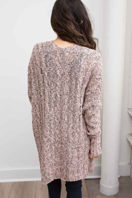 Tone Cable Knit Tunic Sweater - Pink/Black