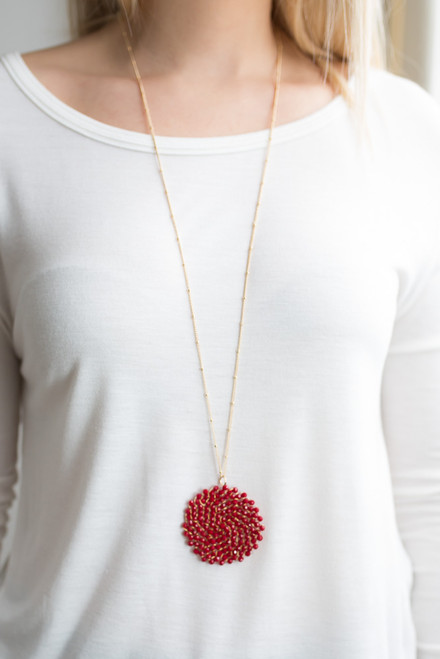 Beaded Circle Pendant Necklace - Red