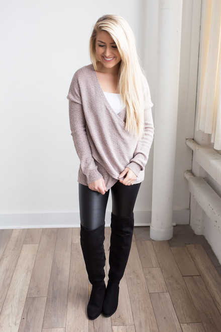 Two Tone Cross Wrap Sweater - Light Pink/Black