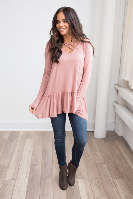 Criss Cross Ruffle Hem Tunic - Salmon