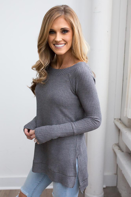 Boatneck Waffle Knit Top - Charcoal