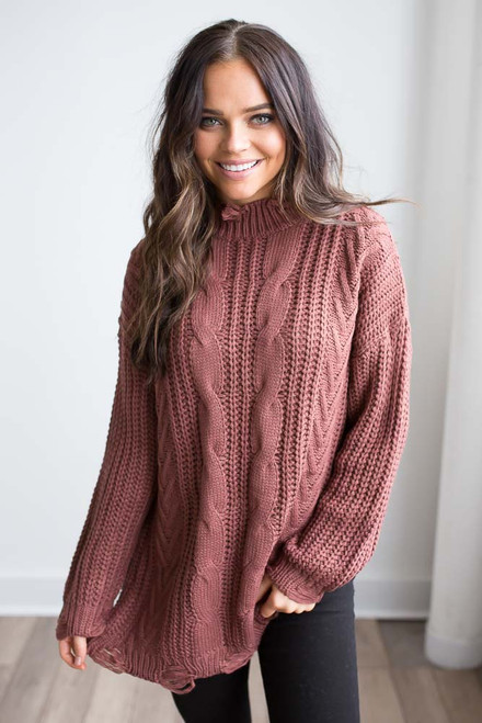 Distressed Cable Knit Sweater - Cinnamon