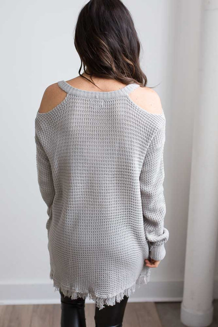 Cold Shoulder Waffle Knit Frayed Tunic - Warm Grey