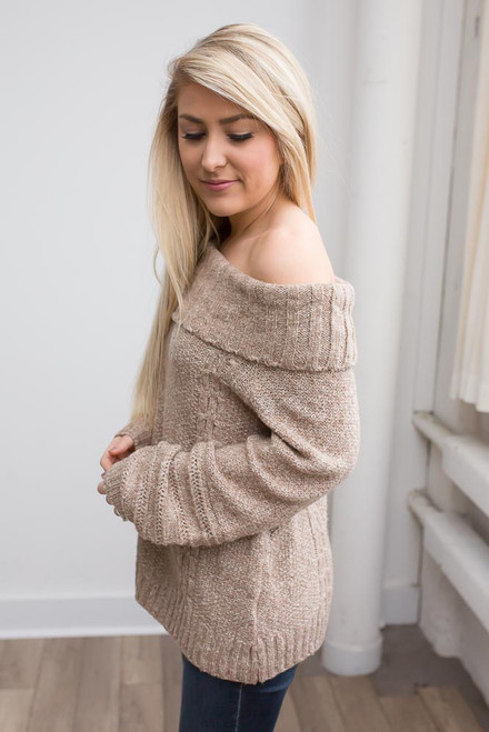 Off the Shoulder Cable Knit Sweater - Mocha