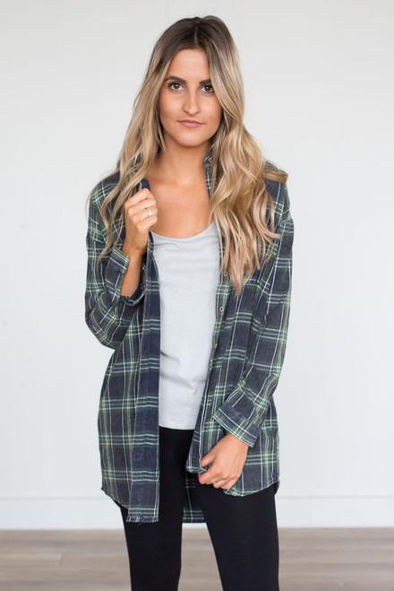Plaid Flannel Pocket Tunic - Green/Navy