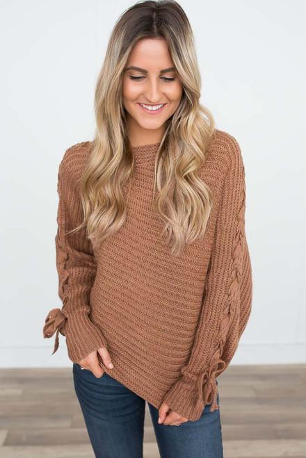 Shoulder Detail Boatneck Sweater - Dusted Apricot