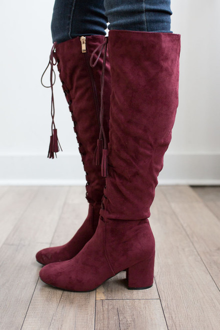 Faux Suede Lace Up Tassel Boots - Burgundy