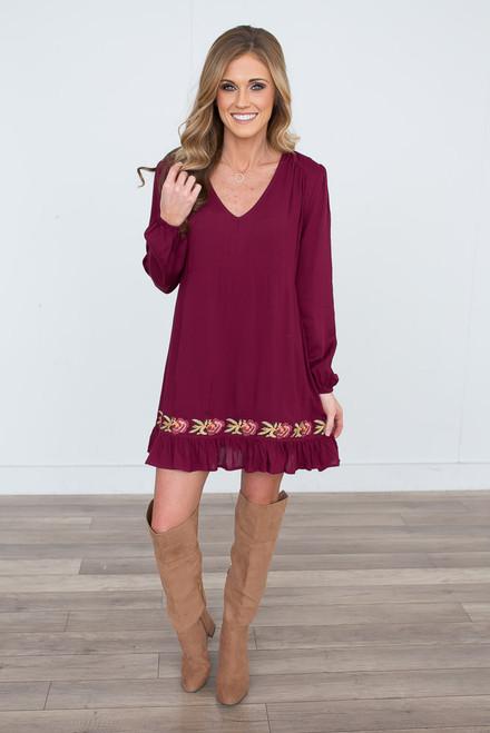 Rose Embroidered Detail Dress - Burgundy