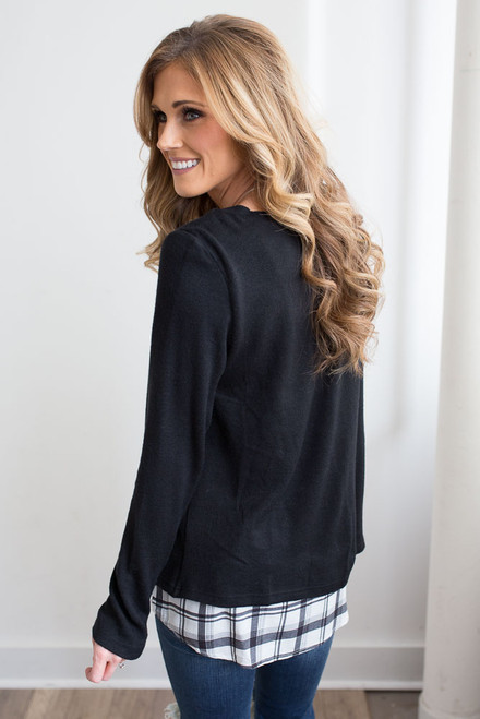 Plaid Detail Zipper Sweater - Black/White