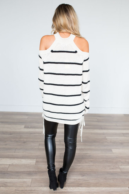 Cold Shoulder Striped Sweater - Ivory/Black