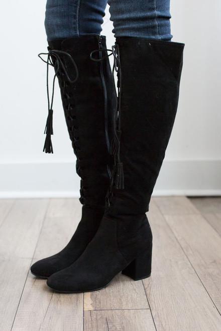 Faux Suede Lace Up Tassel Boots - Black