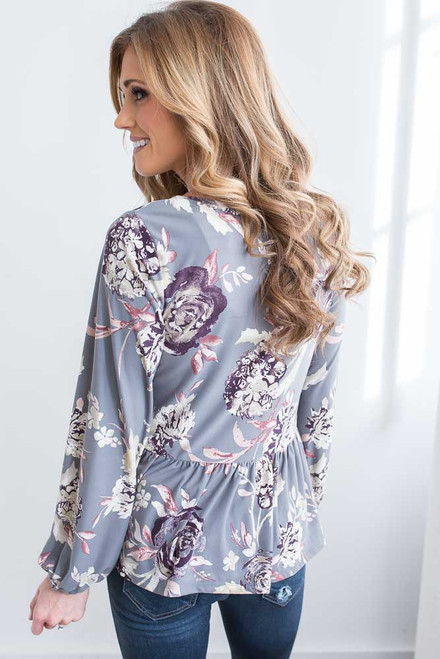 Everly Floral Print Peplum Top - Grey Multi