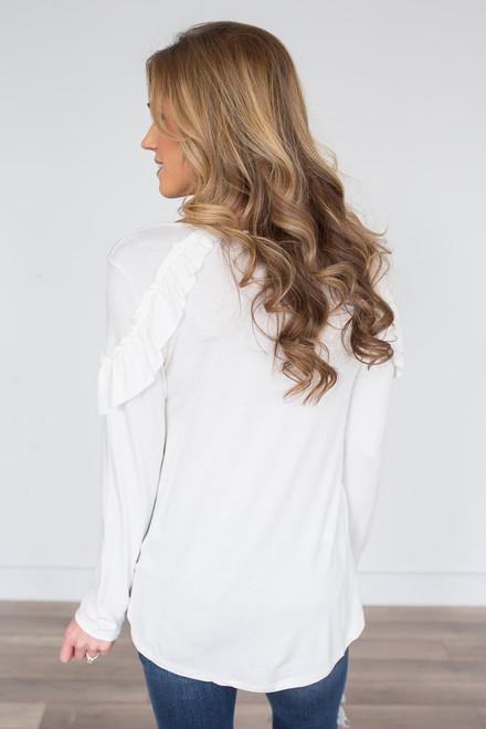 Long Sleeve Ruffled Shoulder Top - Ivory