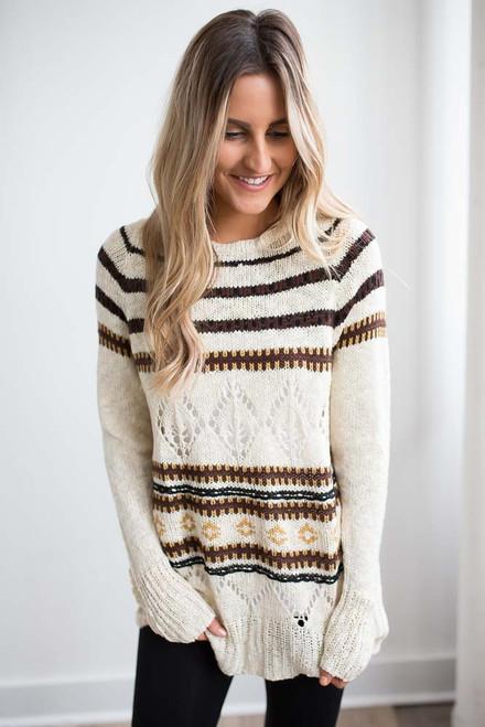 Printed Striped Sweater - Oatmeal Multi