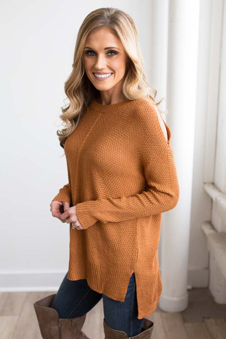High Low Cold Shoulder Sweater - Russet Orange