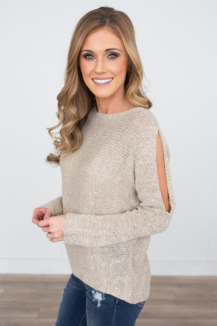 Two Tone Open Shoulder Sweater - Taupe