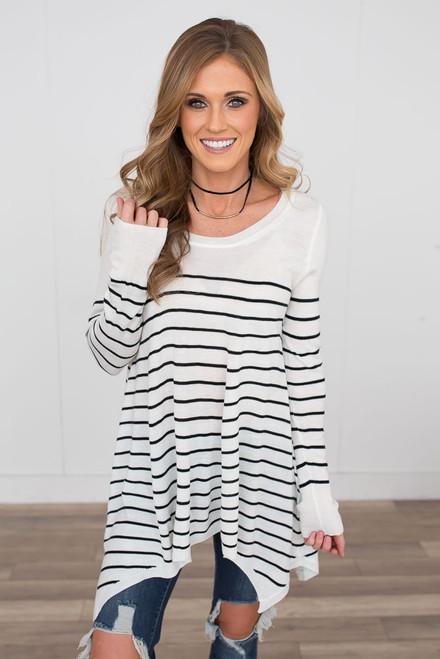 Striped Asymmetrical Lightweight Sweater - Ivory/Black