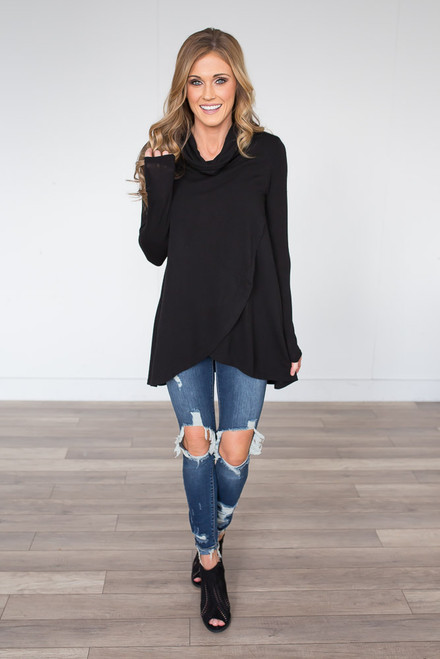 Cowl Neck Tulip Sweatshirt - Black