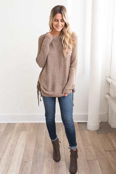 Lace Up Detail Sweater - Mocha