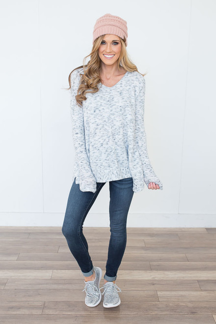 Soft Brushed Marbled Top - White/Black