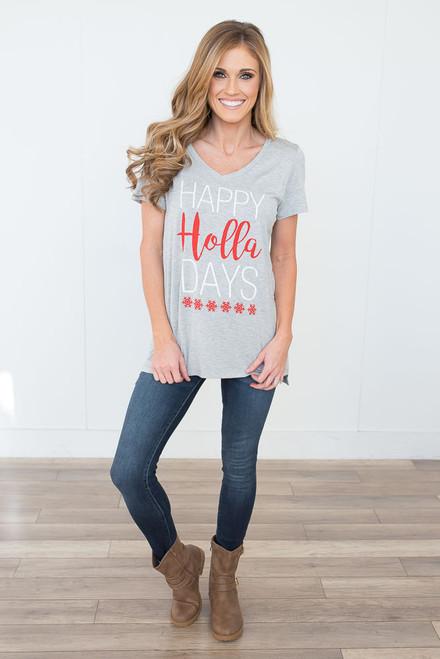 Happy Holla Days V-Neck Tee - Heather Grey