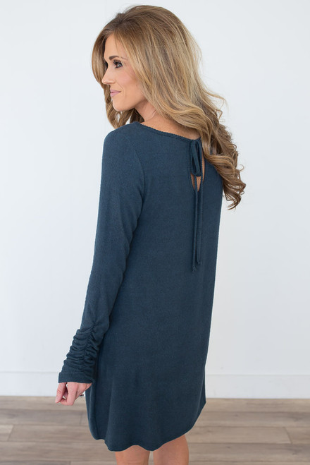 Soft Brushed Ruched Sleeve Dress - Dark Teal