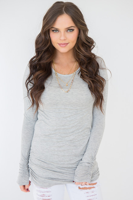 Long Sleeve Ruched Knit Tunic - Heather Grey