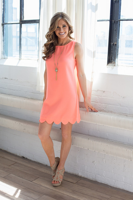 Sleeveless It Girl Solid Scalloped Woven Shift Dress - Neon Coral - FINAL SALE