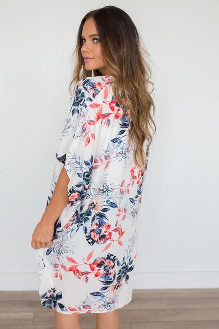Honolulu Floral Print Kimono - Ivory Multi - FINAL SALE