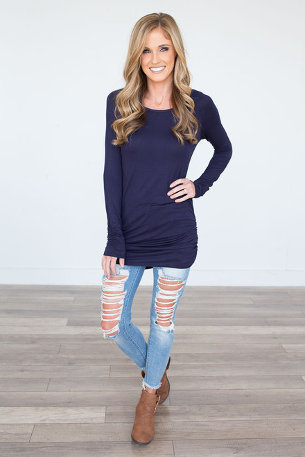 Long Sleeve Ruched Knit Tunic - Navy