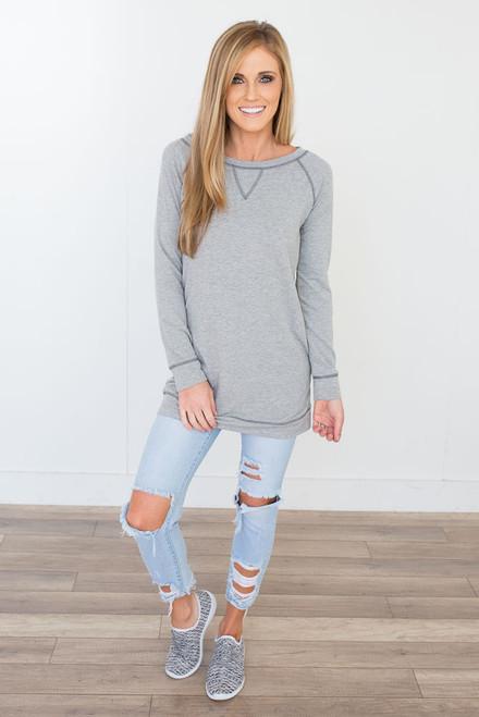 Contrast Stitch Sweatshirt Tunic - Heather Grey - FINAL SALE