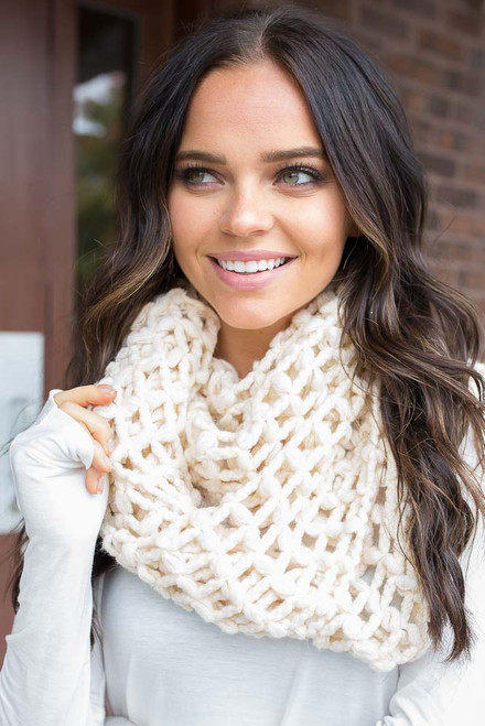 Lattice Knit Infinity Scarf - Ivory
