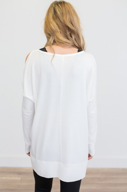 Long Sleeve Cold Shoulder Tunic - Ivory - FINAL SALE