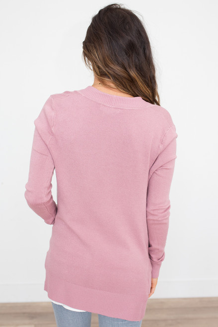 Down By The Bay Knit Cardigan - Mauve