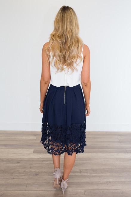 Crochet Lace Hem Midi Skirt - Navy - FINAL SALE
