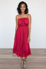 Ruffle Hem Crochet Midi Dress - Burgundy - FINAL SALE