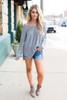 Coffee Shop V-Neck  Sweater - Grey - FINAL SALE