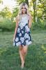 Crochet Lace Floral Print Dress - Navy - FINAL SALE