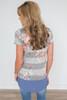 Striped Rose Contrast Hem Tee - Grey - FINAL SALE