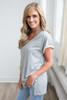V-Neck Rolled Cuff Tee - Heather Grey - FINAL SALE