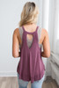 Vintage Ribbed Keyhole Back Tank - Berry - FINAL SALE