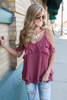 Cold Shoulder Ruffle Cami – Barn Red - FINAL SALE