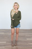 Strap Front Lightweight Sweater – Olive - FINAL SALE