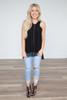 Halter Neck Crochet Hem Blouse - Black - FINAL SALE