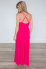 Pleated Maxi Dress - Strawberry Pink - FINAL SALE